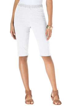 Stretch Denim Bermuda Shorts, WHITE, hi-res