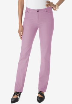 Straight-Leg Jean with Invisible Stretch® by Denim 24/7®, LIGHT BERRY
