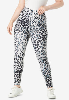 Performance Legging with Wide Waistband, GRAY TEXTURED ANIMAL