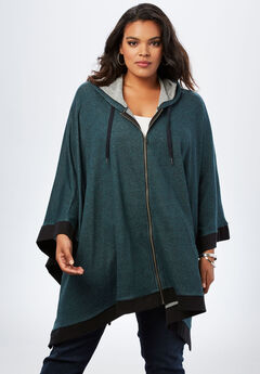 Hooded Zip Poncho, EVENING CLOUD MARLED, hi-res
