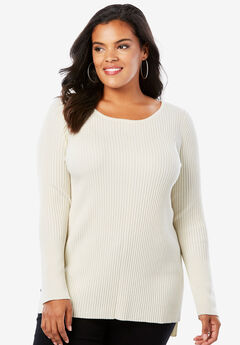 Ribbed Pullover Sweater with High-Low Hem,