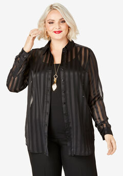 Georgette Tunic, BLACK STRIPE