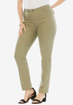 Straight Leg Jean with Invisible Stretch® by Denim 24/7®, WASHED OLIVE