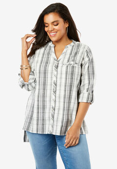 Plaid Flannel Maxi Tunic with High-Low Hem, IVORY MIXED PLAID