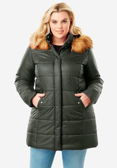 Classic-Length Quilted Parka with Faux-Fur Hood, DEEP OLIVE