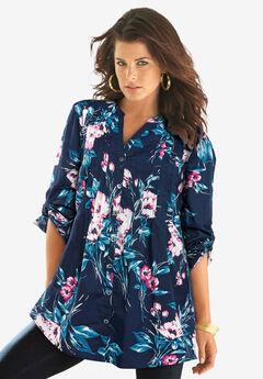 English Floral Big Shirt, NAVY VINTAGE BOUQUET