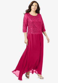 Lace Popover Dress, SWEET RUBY
