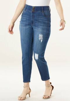 The Curvy Skinny Jean by Denim 24/7®, DISTRESSED