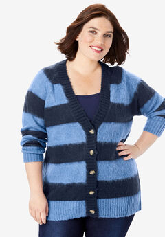 Deep V Button Cardigan, NAVY DUSTY INDIGO