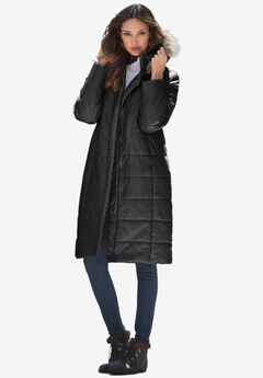 Mid-Length Quilted Parka with Hood, BLACK