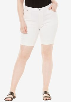 Cuff Denim Shorts with Invisible Stretch® Waistband by Denim 24/7®, WHITE DENIM, hi-res
