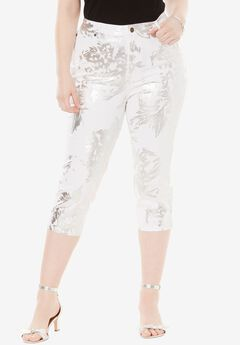 Denim Capri by Denim 24/7, FOIL PRINT, hi-res