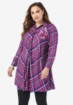 Handkerchief Hem Button-Front Tunic,