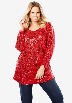 Cold-Shoulder Sequin Tunic,