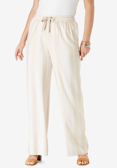 Drape Wide-Leg Pant, BEIGE TRIBAL STRIPE