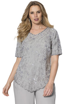 Sequin Beaded Top, SILVER SHIMMER, hi-res