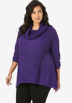 Thermal Cowl-Neck Sweater, MIDNIGHT VIOLET