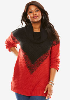 Ombre Marl Pattern Sweater, PEPPER RED BLACK, hi-res