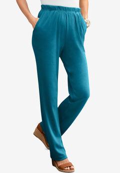 Straight-Leg Soft Knit Pant, DEEP TEAL