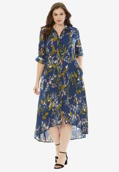 High-Low Crinkle Dress, NAVY STEMS PRINT, hi-res
