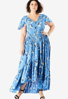 Button-Front Maxi Dress with High-Low Hem, IVORY TOSSED FLORAL