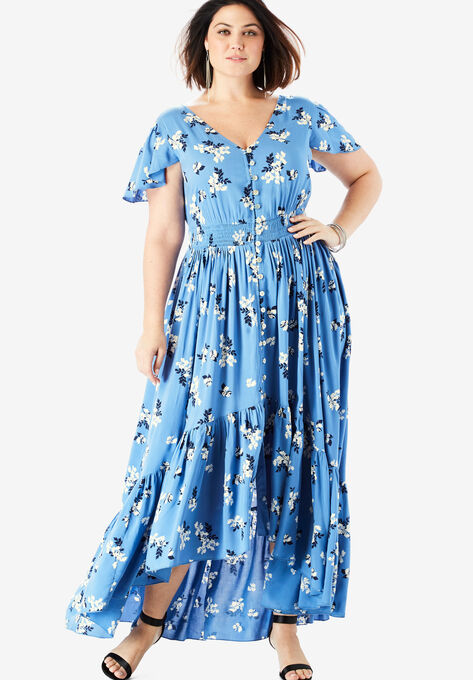 Button-Front Maxi Dress with High-Low Hem