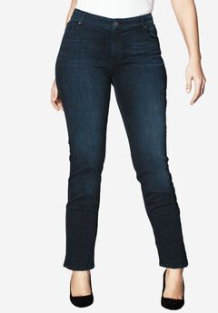 Straight Leg Jean with Invisible Stretch® by Denim 24/7®, DARK INDIGO SANDED, hi-res