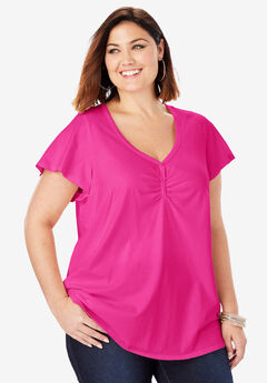 Sweetheart Ultimate Tee with Flutter Sleeves,