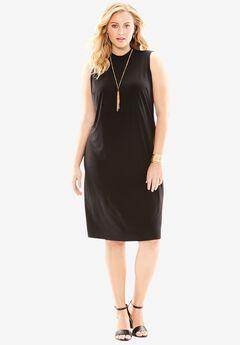 Mock Neck Knit Dress, BLACK, hi-res