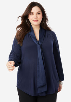 Bow-Tie Blouse with V-Neck, NAVY