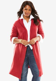 Hooded Duster Cardigan, RUBY ROSE, hi-res
