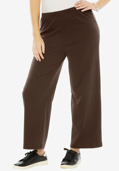 Soft Knit Wide Leg Pant, CHOCOLATE, hi-res