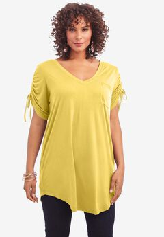 Ruched-Sleeve Ultra Femme Tunic,