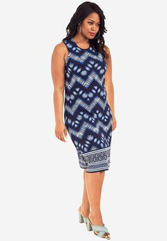 Print A-Line Dress, BLUE CHEVRON PRINT, hi-res