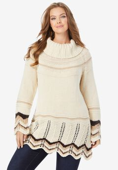 Chevron Border Sweater, OATMEAL STRIPE
