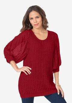 Lace Sleeve Sweater,