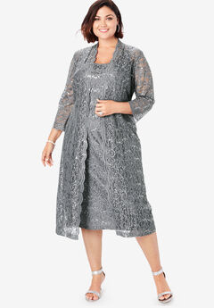 Lace & Sequin Jacket Dress Set, SLATE