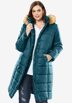 Midi-Length Quilted Parka with Faux-Fur Hood,