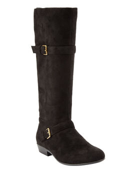 Henny Tall Calf Boots by Comfortview, BLACK