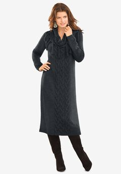 Fringed Cowl-Neck Sweater Dress,