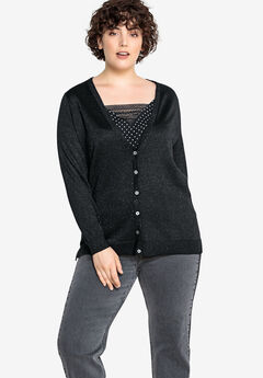Button-Front Metallic Cardigan Castaluna by La Redoute,
