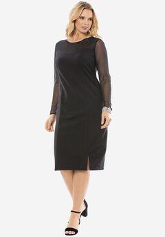 Tulle Sheath Dress, BLACK, hi-res