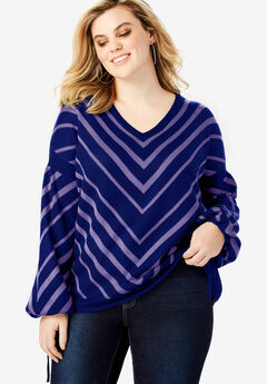 Fine-Gauge Chevron Sweater with Tie-Sleeve, NAVY PURPLE CHEVRON