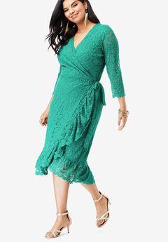 Lace Midi Wrap Dress,