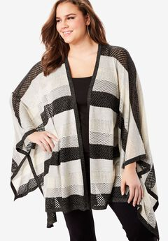 Metallic Poncho Cardigan,