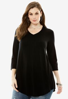 V-Neck Drape Tunic, BLACK, hi-res
