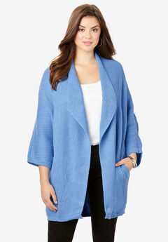 Drape Collar Ribbed Cardigan,