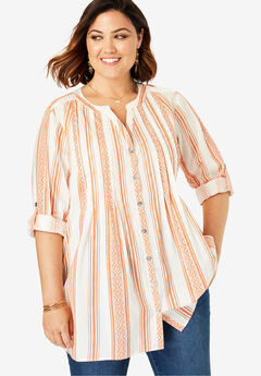 High-Low Pintuck Tunic, SPICE TRIBAL STRIPE