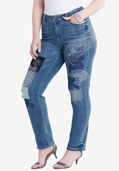 Embroidered Patchwork Straight Leg Jean by Denim 24/7®, MEDIUM WASH, hi-res