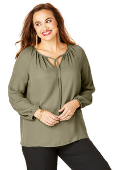 Tie-Neck Peasant Blouse,